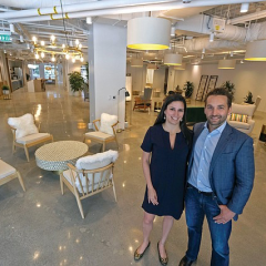Tishman Speyer's Thais Galli and Paul DeMartini at the company's new coworking space in Beverly Hills. Photo by Ringo Chiu.